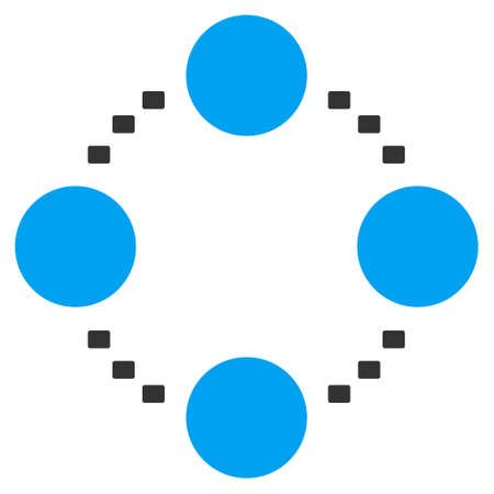 co operation: Circular Relations glyph icon. Style is bicolor flat symbol, blue and gray colors, dots are rounded rectangles, white background. Stock Photo