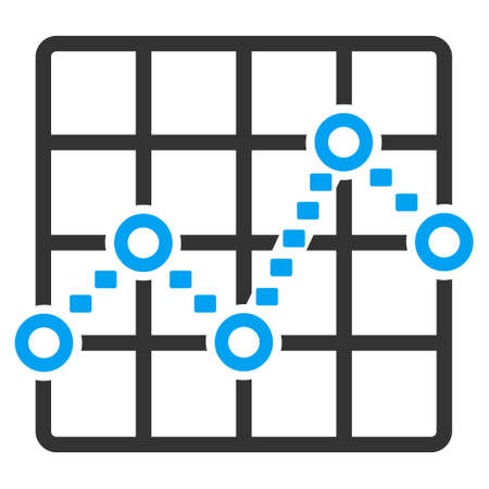 grid: Dotted Line Grid Plot glyph icon. Style is bicolor flat symbol, blue and gray colors, dots are rounded rectangles, white background. Stock Photo