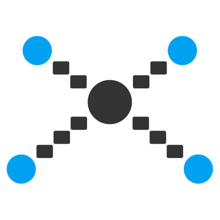 joining the dots: Dotted Links glyph icon. Style is bicolor flat symbol, blue and gray colors, dots are rounded rectangles, white background.