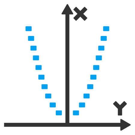 parabola: Dotted Parabola Plot glyph icon. Style is bicolor flat symbol, blue and gray colors, dots are rounded rectangles, white background.