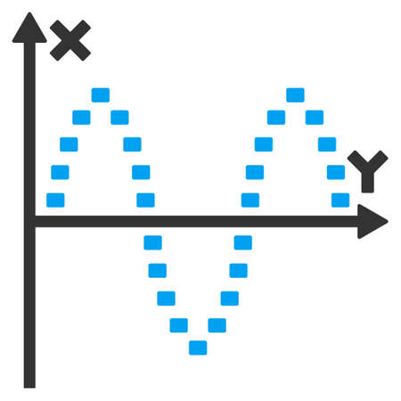 oscillations: Dotted Sinusoid Plot glyph icon. Style is bicolor flat symbol, blue and gray colors, dots are rounded rectangles, white background.