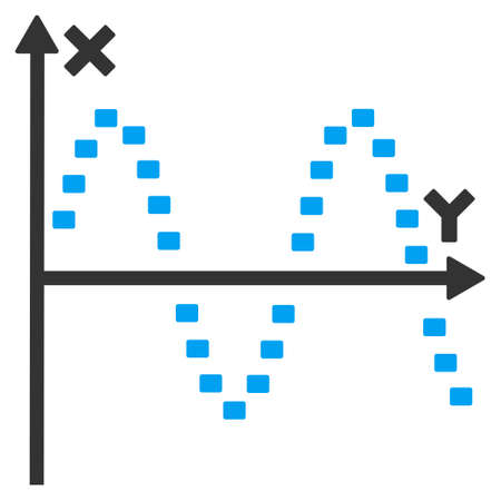 oscillations: Dotted Sine Plot glyph icon. Style is bicolor flat symbol, blue and gray colors, dots are rounded rectangles, white background.