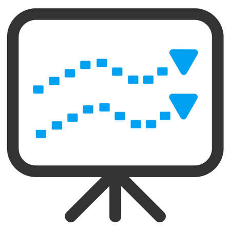 slideshow: Dotted Trends Board glyph icon. Style is bicolor flat symbol, blue and gray colors, dots are rounded rectangles, white background.