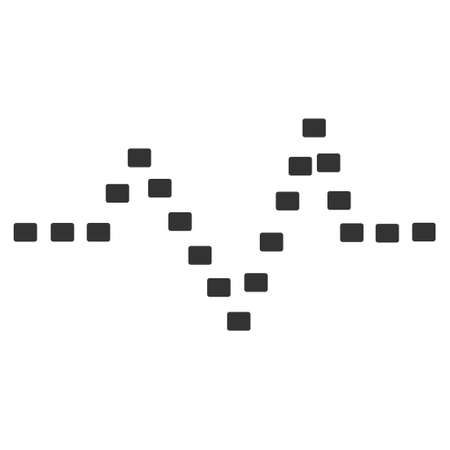 to pulsate: Dotted Pulse glyph icon. Style is flat symbol, gray color, dots are rounded rectangles, white background. Stock Photo