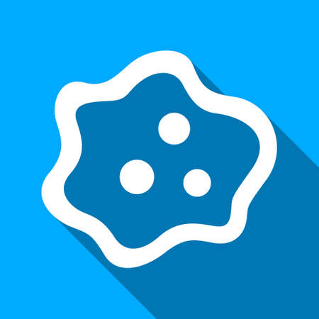 ameba: Amoeba long shadow vector icon. Style is a flat light symbol with rounded angles on a blue square background.
