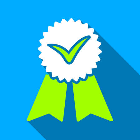 approvement: Approvement Ribbon Seal long shadow vector icon. Style is a flat light symbol with rounded angles on a blue square background.