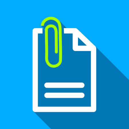 fastener: Attach Document long shadow vector icon. Style is a flat light symbol with rounded angles on a blue square background.