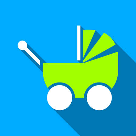 Baby Pram long shadow vector icon. Style is a flat light symbol with rounded angles on a blue square background.
