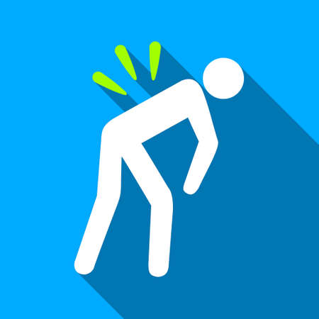 warning back: Backache long shadow vector icon. Style is a flat light symbol with rounded angles on a blue square background.
