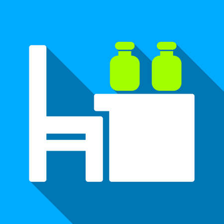 apothecary: Apothecary Table long shadow vector icon. Style is a flat light symbol with rounded angles on a blue square background.