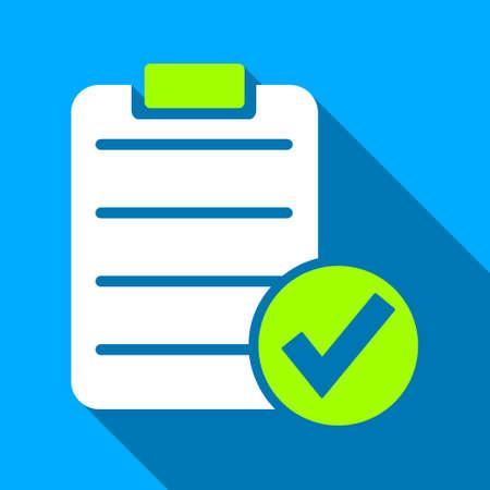 Appliquer l'icône de vecteur de forme longue ombre. Le style est un symbole de lumière plate avec des angles arrondis sur un fond carré bleu. Vecteurs
