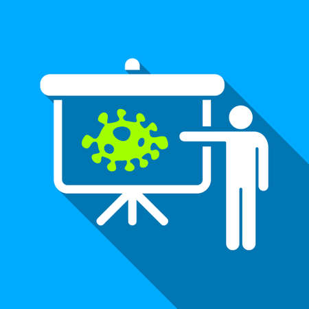 ameba: Bacteria Lecture long shadow vector icon. Style is a flat light symbol with rounded angles on a blue square background.