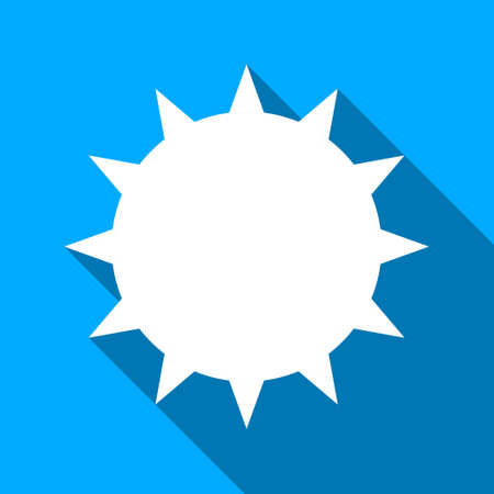 ameba: Bacterium long shadow vector icon. Style is a flat light symbol with rounded angles on a blue square background.