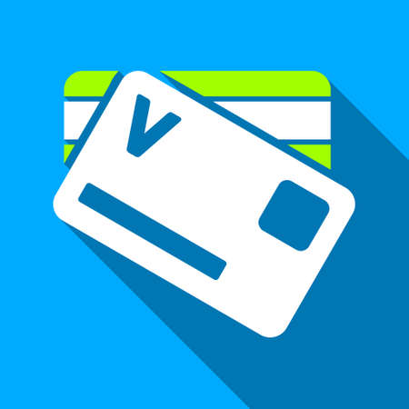 gain access: Banking Cards long shadow vector icon. Style is a flat light symbol with rounded angles on a blue square background.