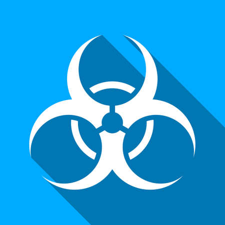 riesgo biologico: Símbolo de riesgo biológico del vector del icono larga sombra. El estilo es un símbolo de luz plana con ángulos redondeados en un fondo cuadrado azul.