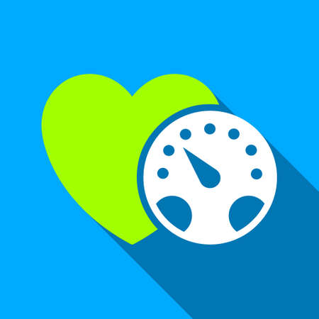 blood pressure monitor: Blood Pressure Meter long shadow vector icon. Style is a flat light symbol with rounded angles on a blue square background. Illustration