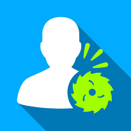 execution: Body Execution With Circular Saw long shadow vector icon. Style is a flat light symbol with rounded angles on a blue square background. Illustration