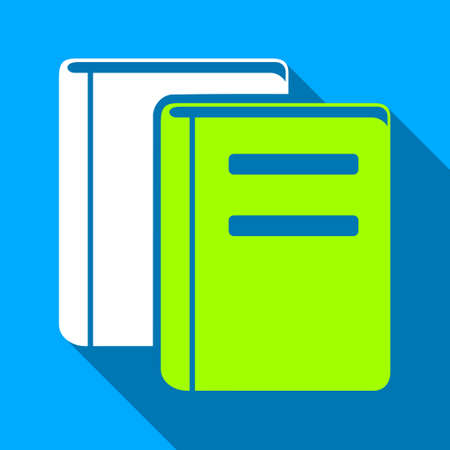 magazine stack: Books long shadow vector icon. Style is a flat light symbol with rounded angles on a blue square background. Illustration