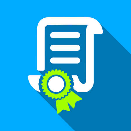 attest: Certified Scroll Document long shadow vector icon. Style is a flat light symbol with rounded angles on a blue square background. Illustration