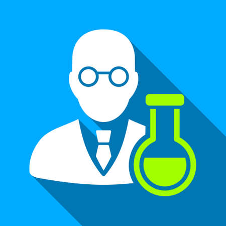 retort: Chemist With Retort long shadow vector icon. Style is a flat light symbol with rounded angles on a blue square background.