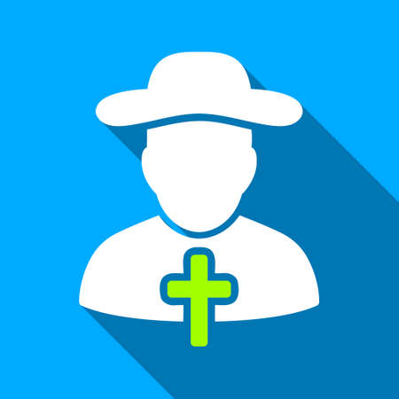 cleric: Christian Cleric long shadow vector icon. Style is a flat light symbol with rounded angles on a blue square background. Illustration