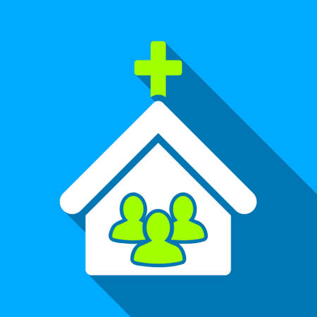 church people: Church People long shadow vector icon. Style is a flat light symbol with rounded angles on a blue square background.
