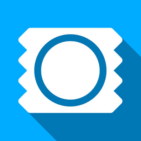 preservative: Condom long shadow vector icon. Style is a flat light symbol with rounded angles on a blue square background.