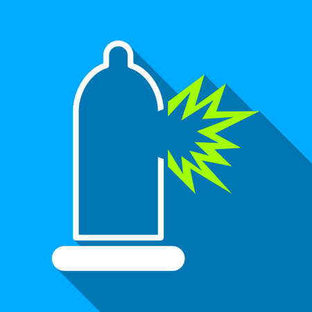condom: Condom Damage long shadow vector icon. Style is a flat light symbol with rounded angles on a blue square background. Illustration