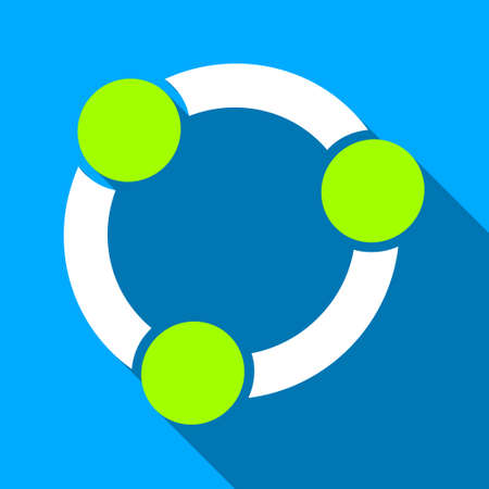 collective: Collaboration Circle long shadow vector icon. Style is a flat light symbol with rounded angles on a blue square background. Illustration