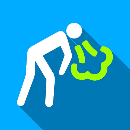 blowup: Cough Person long shadow vector icon. Style is a flat light symbol with rounded angles on a blue square background.