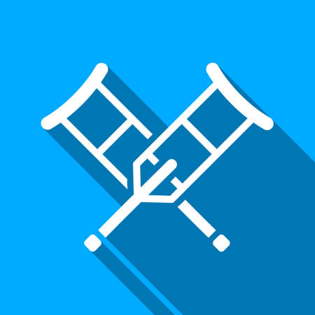 geriatrics: Crutches long shadow vector icon. Style is a flat light symbol with rounded angles on a blue square background.