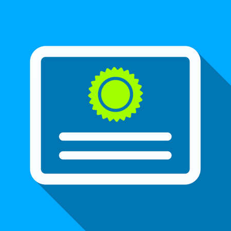 attest: Diploma long shadow vector icon. Style is a flat light symbol with rounded angles on a blue square background.