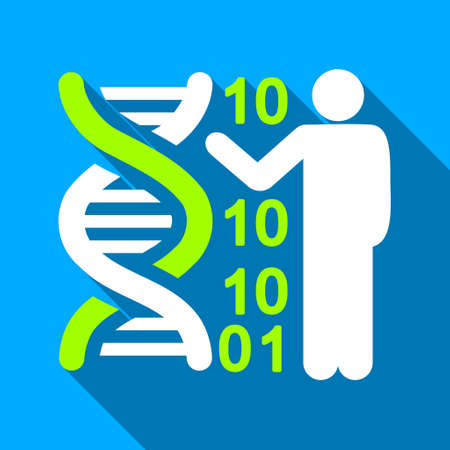 decode: DNA Code Lecture long shadow vector icon. Style is a flat light symbol with rounded angles on a blue square background.