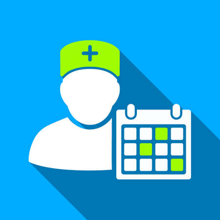 doctor appointment: Doctor Appointment long shadow vector icon. Style is a flat light symbol with rounded angles on a blue square background.