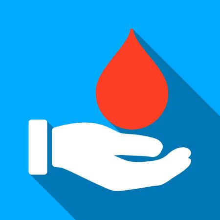 Faire un don de sang ombre vecteur icône. Le style est un symbole de lumière plat avec des angles arrondis sur un fond carré bleu.