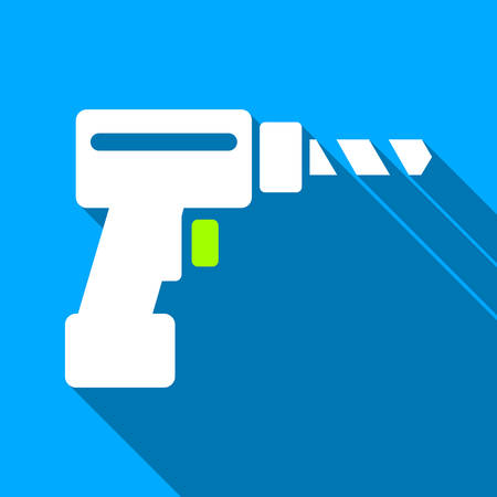 industrial hole: Drill long shadow vector icon. Style is a flat light symbol with rounded angles on a blue square background.