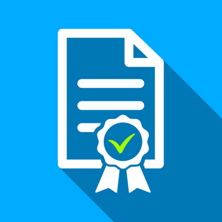 page long: Certified Page long shadow vector icon. Style is a flat light symbol with rounded angles on a blue square background.