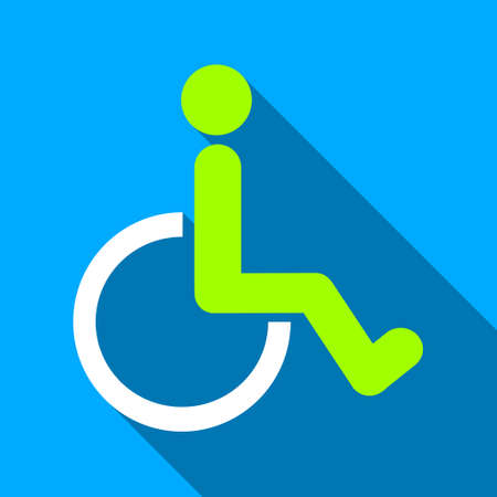 wheelchair users: Disabled Person WC long shadow vector icon. Style is a flat light symbol with rounded angles on a blue square background.