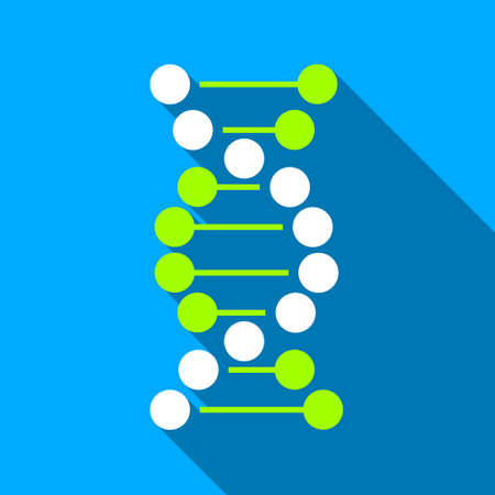 encode: DNA long shadow vector icon. Style is a flat light symbol with rounded angles on a blue square background. Illustration