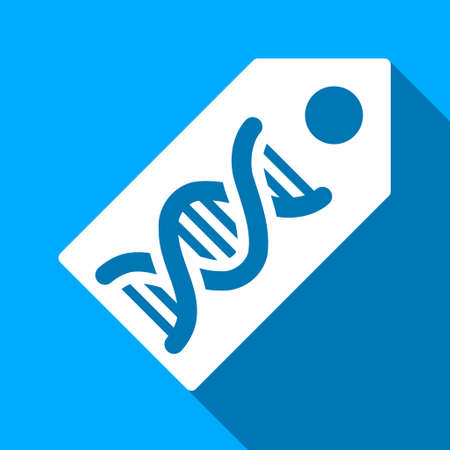 genom: DNA Marker long shadow vector icon. Style is a flat light symbol with rounded angles on a blue square background.