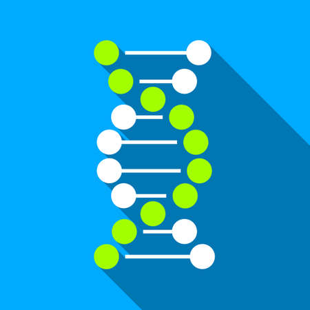 genom: DNA Spiral long shadow vector icon. Style is a flat light symbol with rounded angles on a blue square background.
