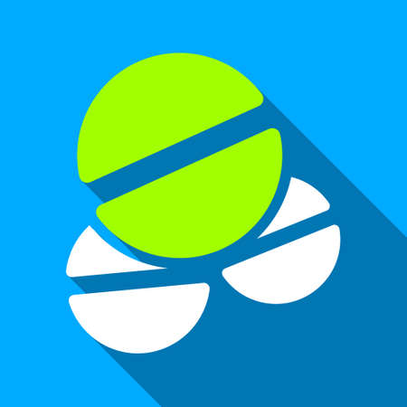 Drug Tablets long shadow vector icon. Style is a flat light symbol with rounded angles on a blue square background.