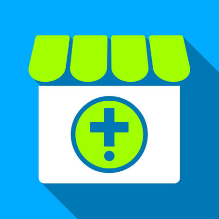 polyclinic: Drugstore long shadow vector icon. Style is a flat light symbol with rounded angles on a blue square background.