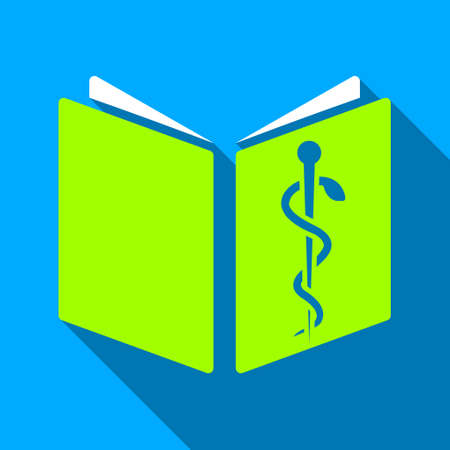 handbook: Drug Handbook long shadow vector icon. Style is a flat light symbol with rounded angles on a blue square background. Illustration