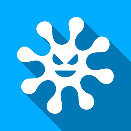 ameba: Evil Bacteria long shadow vector icon. Style is a flat light symbol with rounded angles on a blue square background.