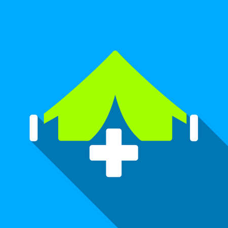 filed: Filed Hospital long shadow vector icon. Style is a flat light symbol with rounded angles on a blue square background.