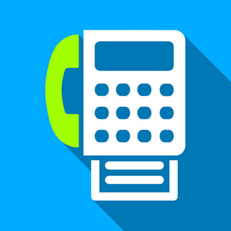 Fax long shadow vector icon. Style is a flat light symbol with rounded angles on a blue square background. Illustration