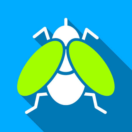 parasitic: Fly long shadow vector icon. Style is a flat light symbol with rounded angles on a blue square background.