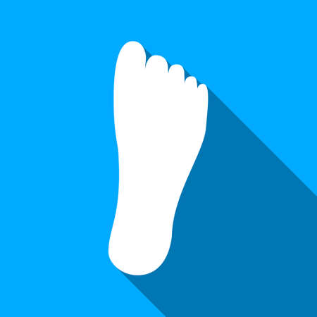 sole: Foot Sole long shadow vector icon. Style is a flat light symbol with rounded angles on a blue square background. Illustration