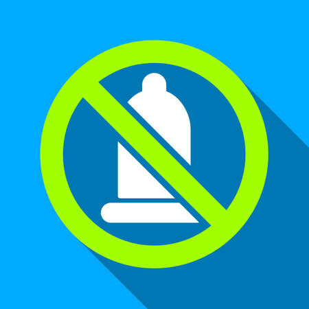 condoms: Forbidden Condom long shadow vector icon. Style is a flat light symbol with rounded angles on a blue square background.